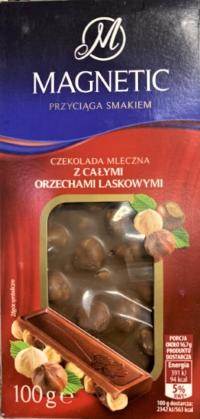 Шоколад Мagnetic молочный с цельным орехом 100 г