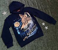 Кофта с капюшоном Принт волк светится в темноте 7-14  лет