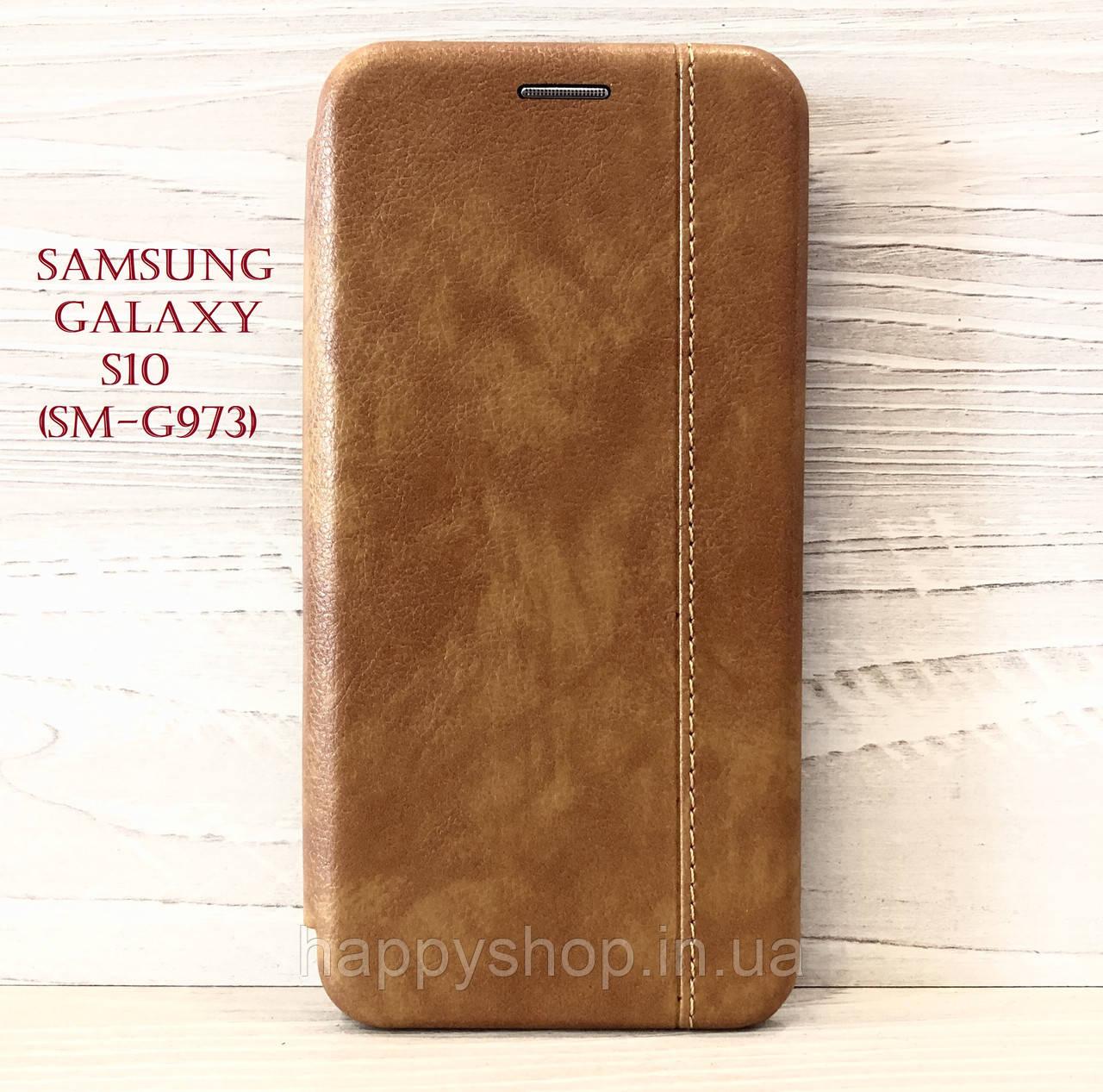 Чехол-книжка Gelius Leather для Samsung Galaxy S10 (SM-G973) Коричневый