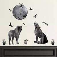 """Интерьерная  виниловая наклейка на стену , зеркало, шкаф """"Волки"""" (v785398)"""