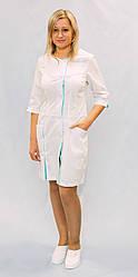 Медицинский женский халат Белый с бирюзовыми вставками