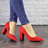 Стильные женские туфли лодочки красного цвета Alberta