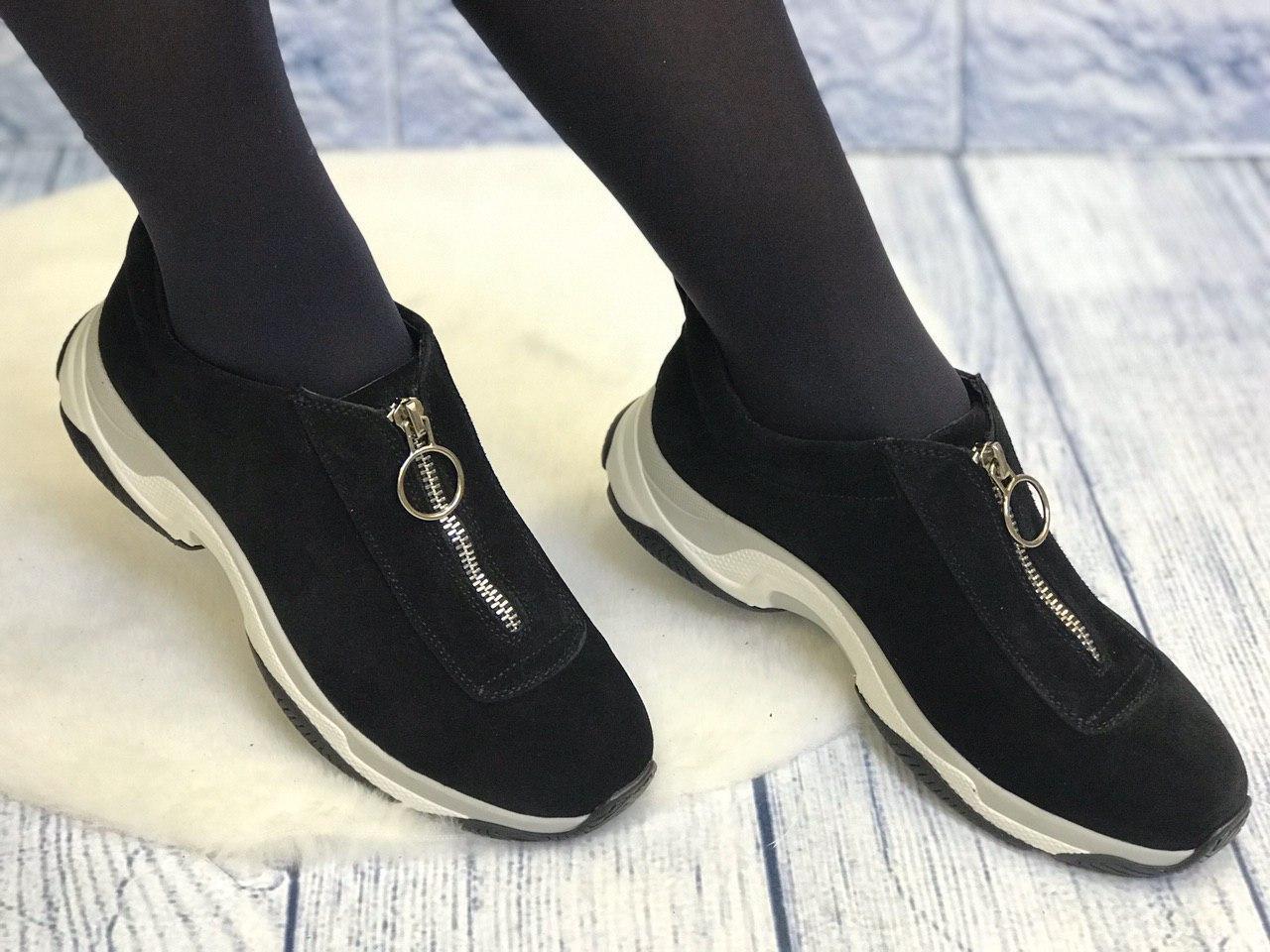 Черные замшевые кроссовки без шнурков на молнии женские весна лето осень кожа или замш размеры 36-41