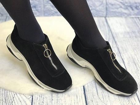 Черные замшевые кроссовки без шнурков на молнии женские весна лето осень кожа или замш размеры 36-41, фото 2