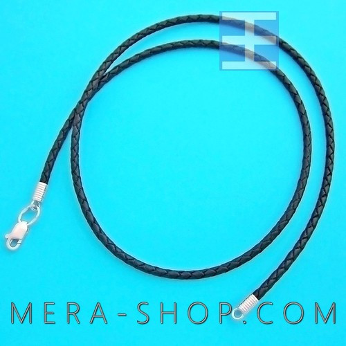 Кожаный плетёный шнурок черный (⌀2,5 мм) замок из серебра