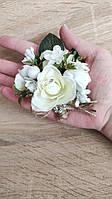 Бутоньерка из роз Flowers. Цвет белый.
