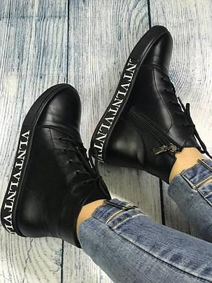 Черные высокие мокасины кожаные кроссовки женские размеры 36-41, фото 2