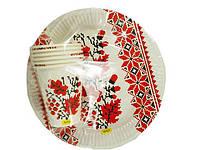 """Одноразовый набор бумажной посуды №4/23 """"Вышиванка"""" (1 пач) заходи на сайт Уманьпак"""