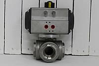 """Кран трехходовой Т-образный нержавеющий 3/2"""" с пневмоприводом с возвратной пружиной Bundor, фото 1"""