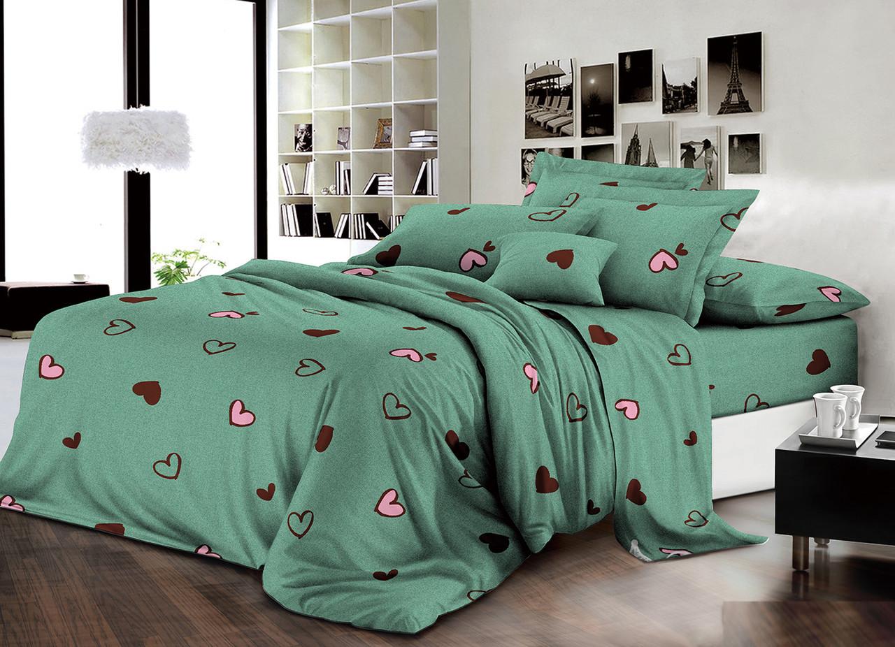 Двуспальный комплект постельного белья евро 200*220 хлопок  (13988) TM KRISPOL Украина
