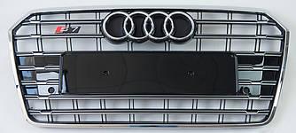 Решетка радиатора Audi A7 рестайл (15-18) стиль S7 (хром рамка)