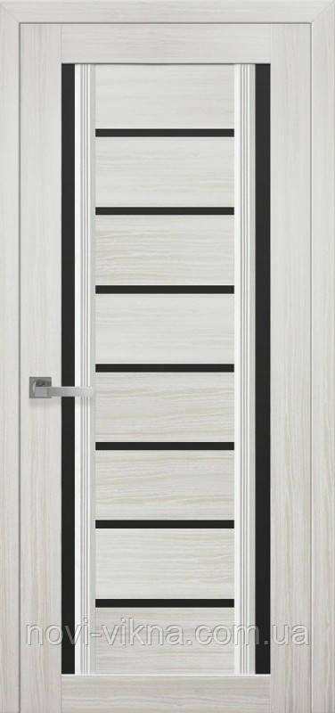 Дверь межкомнатная Флоренция С2 жемчуг белый 600 мм со стеклом BLK (черное).