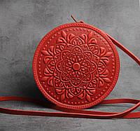 """Стильная круглая кожаная сумочка """"Мандала"""", красная кожаная сумочка ручной работы, фото 1"""
