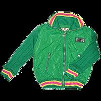 Детская р 92,98 весенняя, осенняя стеганая куртка на синтепоне для девочки подкладка флис 2715 Зелёный