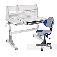 Комплект для школьников Fundesk парта Magico Grey + кресло LST3 Blue-Grey