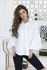 Белая Рубашка с широким рукавом