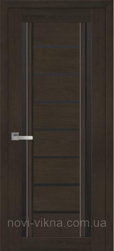 Дверь межкомнатная Флоренция С2 жемчуг кофейный 600 мм со стеклом BLK (черное).