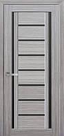 Дверь межкомнатная Флоренция С2 жемчуг серебряный 600 мм со стеклом BLK (черное).