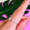 Золотое кольцо с одним камнем - Женское золотое кольцо с цирконием, фото 6