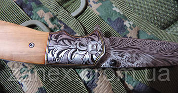 Складной нож с гравированным клинком. Полуавтоматический нож охотничий. , фото 3