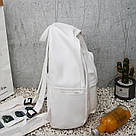 Женский кожаный рюкзак белый большой., фото 4