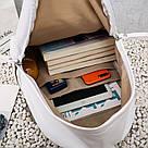 Женский кожаный рюкзак белый большой., фото 8