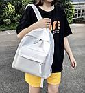 Женский кожаный рюкзак белый большой., фото 9