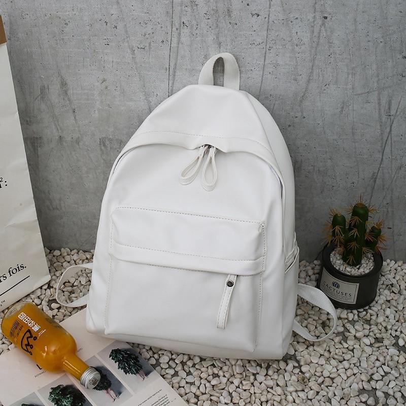 Женский кожаный рюкзак белый большой.