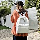 Женский кожаный рюкзак белый большой., фото 10