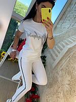 Женский стильный прогулочный костюмы футболка+брюки с лампасами