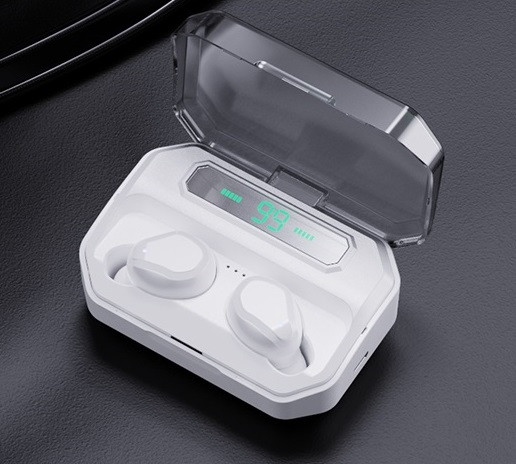 Беспроводные сенсорные наушники гарнитура в кейсе с павербанком с микрофоном NiYE TT5 Bluetooth Белые