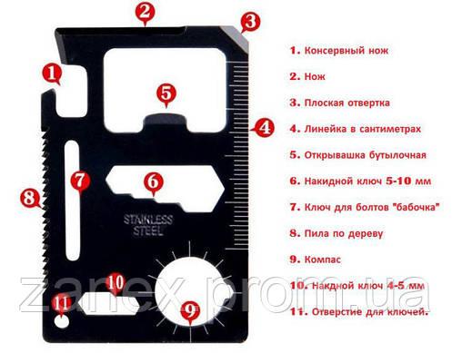 Мультитул карта выживальщика 11 в 1 (stainless steel 11 in 1), фото 2