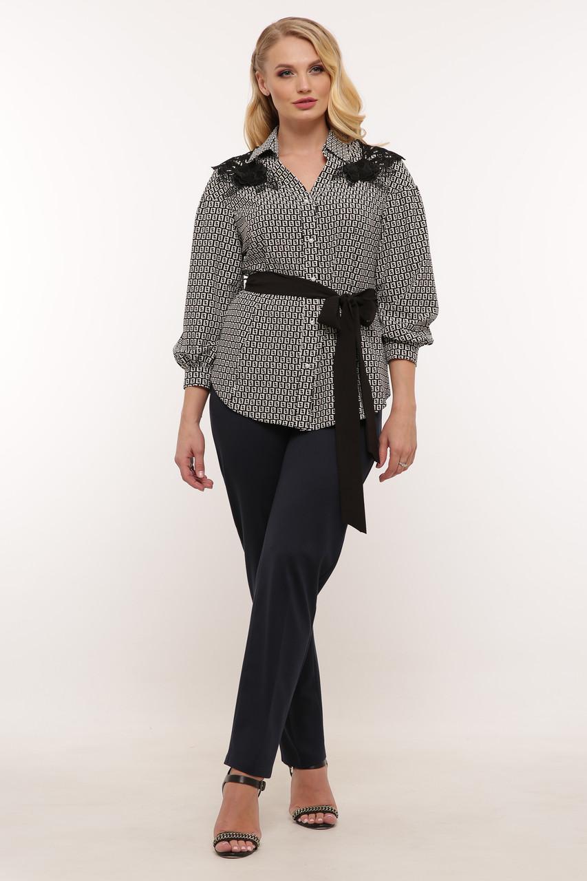 Блуза нарядная Франческа черно-белая