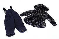 Детская Куртка и полукомбинезон демисезонная Рюша горошек