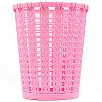 Подставка стакан для кистей, пилочек и маникюрных инструментов RS 02 розовая