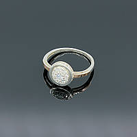 Срібна каблучка перстень Дама з білими камінцями різного розміру, фото 1