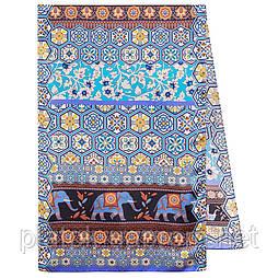 Палантин шелковый 10761-14, павлопосадский палантин шелковый (атласный), размер 65х200