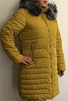 Зимняя женская куртка батальные размеры Размеры 50, 52, 54, 56 цвета - черный, синий, желтый, зеленый Курт