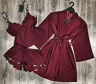 Халат+пижама( майка и шорты).
