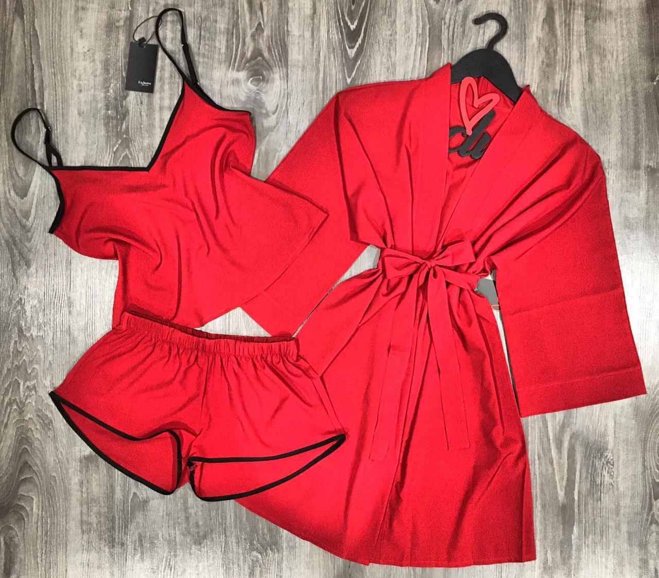 Красный комплект домашней одежды халат+пижама( майка и шорты).
