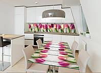 Интерьерная наклейка на стол Букет тюльпанов (виниловые наклейки на столы мебель розовые цветы доски тюльпаны) 600*1200 мм, фото 1