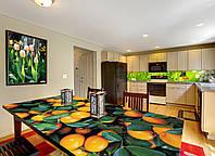 Интерьерная наклейка на стол Мандарины (виниловые наклейки на столы мебель цитрусы апельсины оранжевый принт)