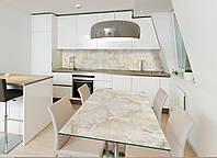 Интерьерная наклейка на стол Мрамор беж 02 (виниловые наклейки на столы мебель по камень мраморный фон) 600*1200 мм
