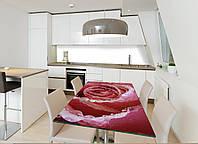 Интерьерная наклейка на стол Нежная роза (виниловые наклейки на столы мебель розы цветы роса макро принты) 600*1200 мм, фото 1