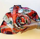 Палантин шелковый 10762-1, павлопосадский палантин шелковый (атласный), размер 65х200, фото 4