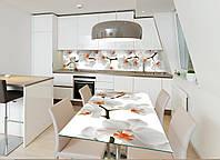 Интерьерная наклейка на стол Орхидея 02 (виниловые наклейки на мебель белые орхидеи цветы) 600*1200 мм, фото 1