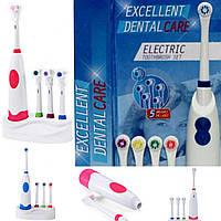 Электрическая зубная щетка портативная электрощетка с 4😊 насадками и подставкой