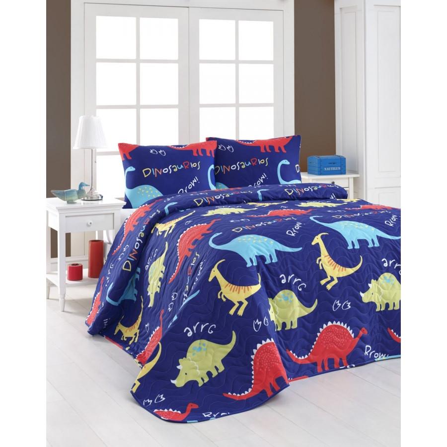 Покрывало детское 200х220 с наволочками на кровать, диван Динозавры