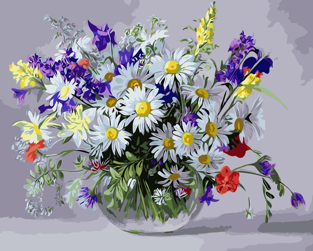 Картина по номерам 40х50см. gx9890 Ваза полевых цветов Rainbow