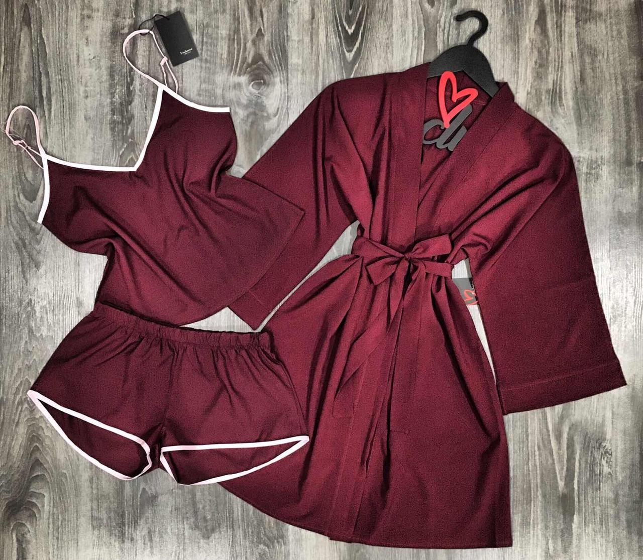 Вишневий комплект домашньої одягу піжама і халат 047-021.